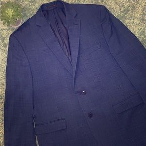 Calvin Klein Men's Navy Checkered Suit